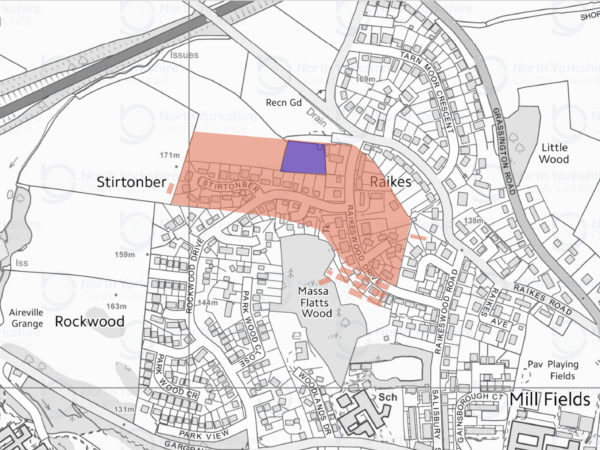 Map of Skipton showing the footprint of the camp (in red) and location of the 2016 dig (in blue).