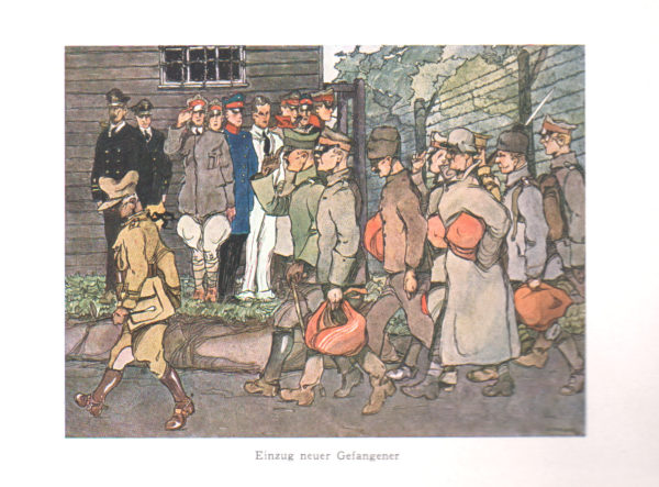 Illustration of German prisoners arriving at the camp