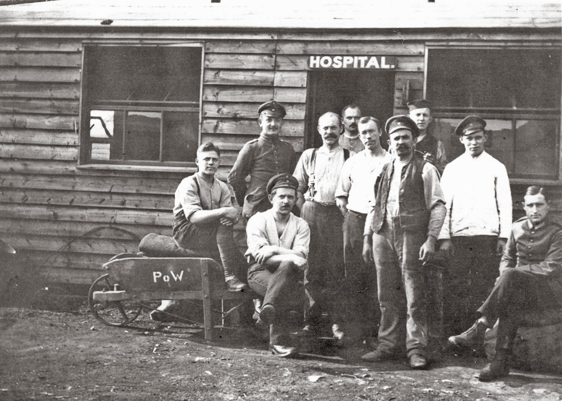 German Prisoners of War outside hospital - Raikeswood Camp, Skipton