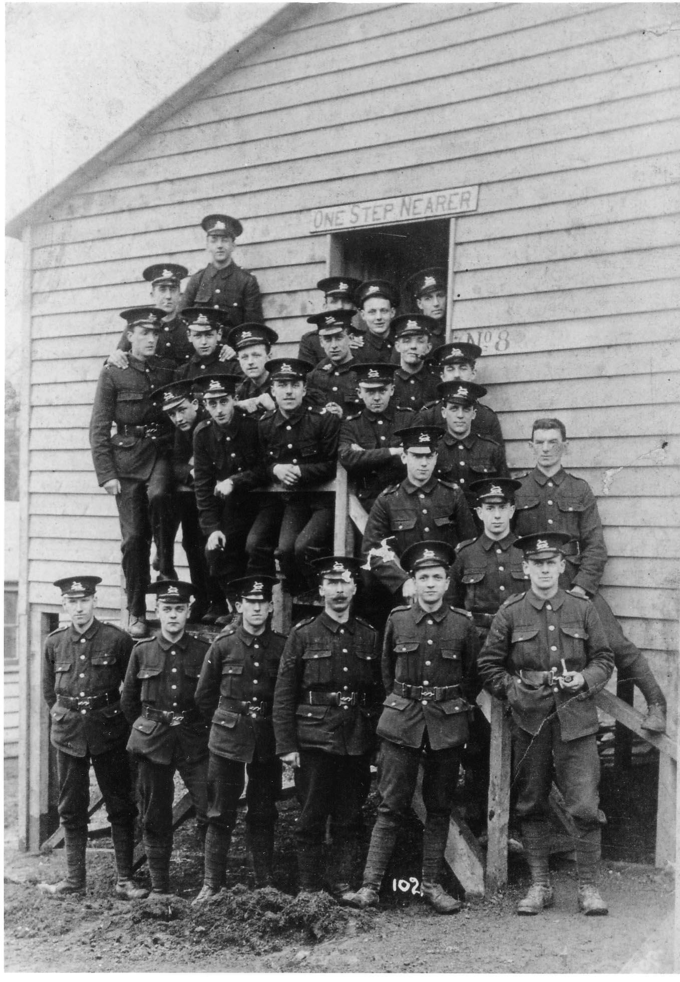 Bradford Pals outside Raikeswood Camp hut, Skipton 1915