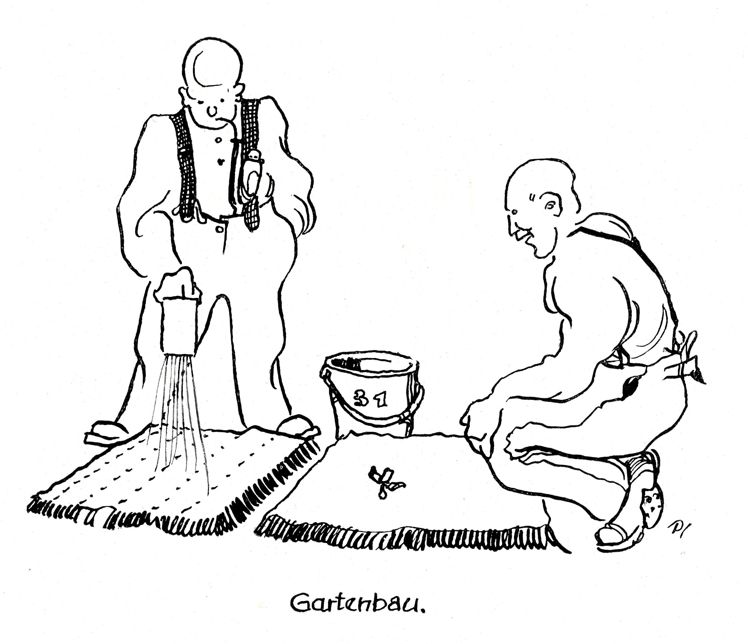 illustration of two prisoners growing vegetables